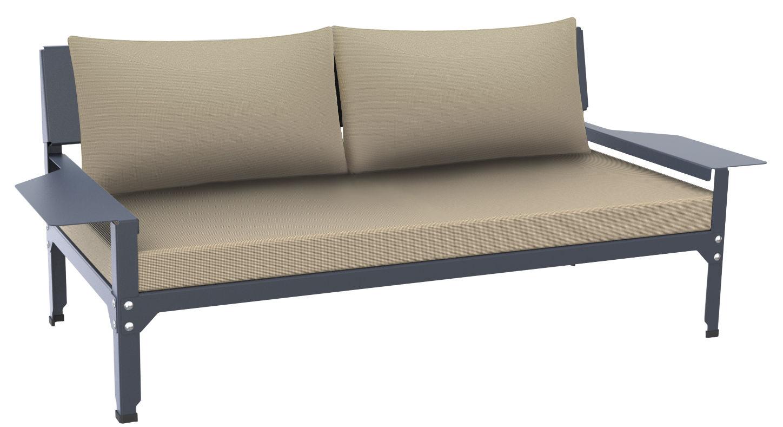 Mobilier - Canapés - Canapé droit Lounge Hegoa / L 163 cm - 2 places - Indoor/ Outdoor - Matière Grise - Structure gris bleu / Coussins crème - Acier peint époxy, Mousse, Tissu