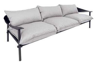Canapé droit Terramare / 3 places - L 257 cm - Emu noir,gris clair en tissu