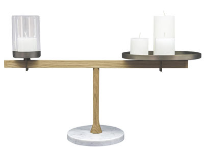 Decoration - Candles & Candle Holders - Balance Candelabra - L 63 x H 28 cm / Marble, oak & brass by Driade - Marbre blanc, chêne & laiton - Carrare marble, Glass, Solid brass, Solid oak