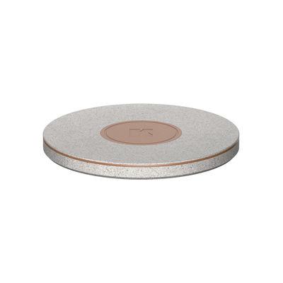 Accessoires - Objets connectés, accessoires high tech - Chargeur à induction wiCHARGE CARE / QI - Ø 10 cm - Kreafunk - Gris moucheté - Cuir, Fibre de paille de blé, Métal, Plastique