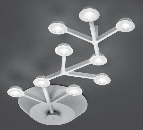 Leuchten - Deckenleuchten - LED NET Deckenleuchte länglich - L 66 cm - Artemide - Weiß - bemaltes Aluminium, Methacrylate