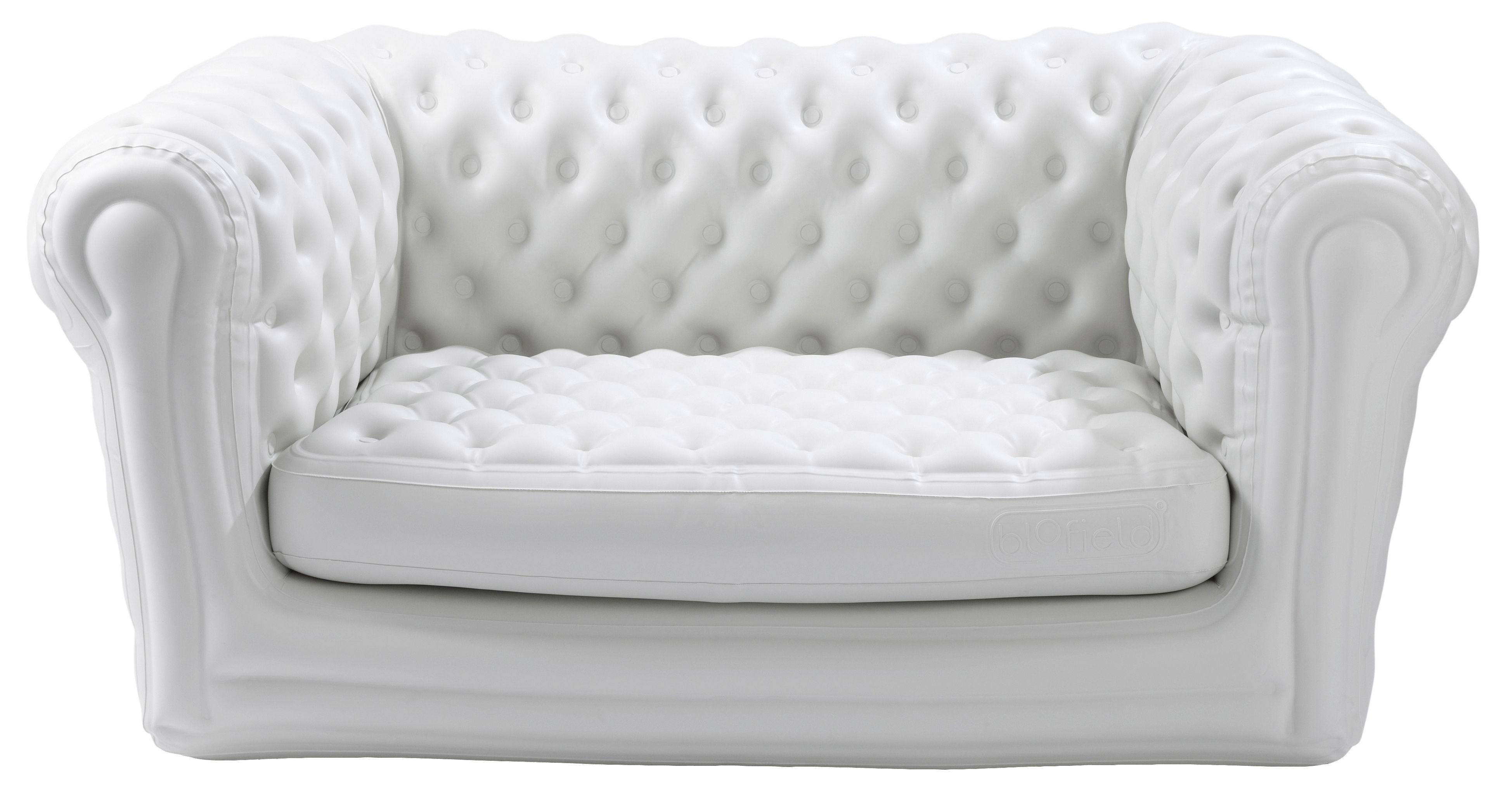 Arredamento - Divani moderni - Divano destro Big Blo 2 - Gonfiabile - 2 posti di Blofield - Bianco - Nylon, PVC