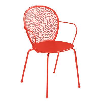 Mobilier - Chaises, fauteuils de salle à manger - Fauteuil empilable Lorette / Métal perforé - Fermob - Capucine - Acier laqué