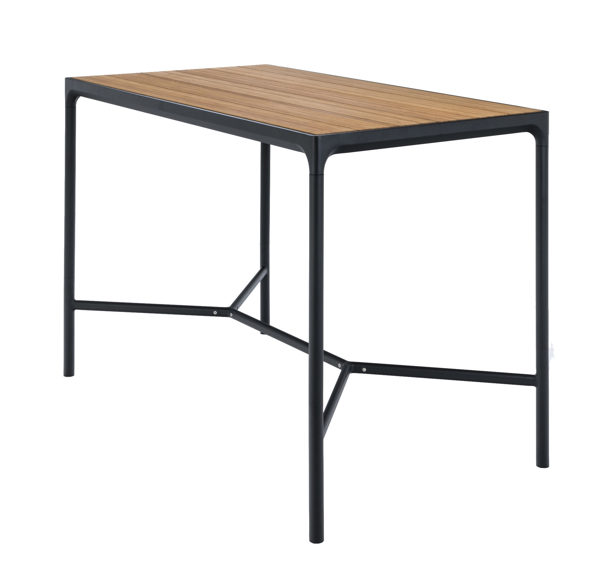 Furniture - High Tables - Four High table - / L 160 x H 111 cm by Houe - Bamboo / Black legs - Aluminium, Bamboo