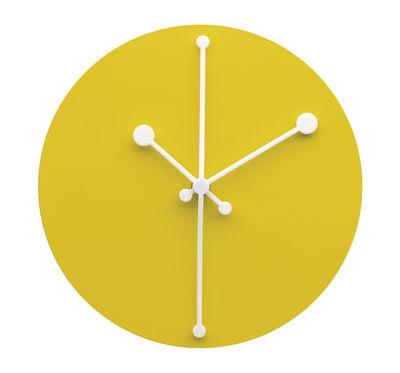 Horloge murale Dotty Clock / Ø 20 cm - Alessi blanc/jaune en métal