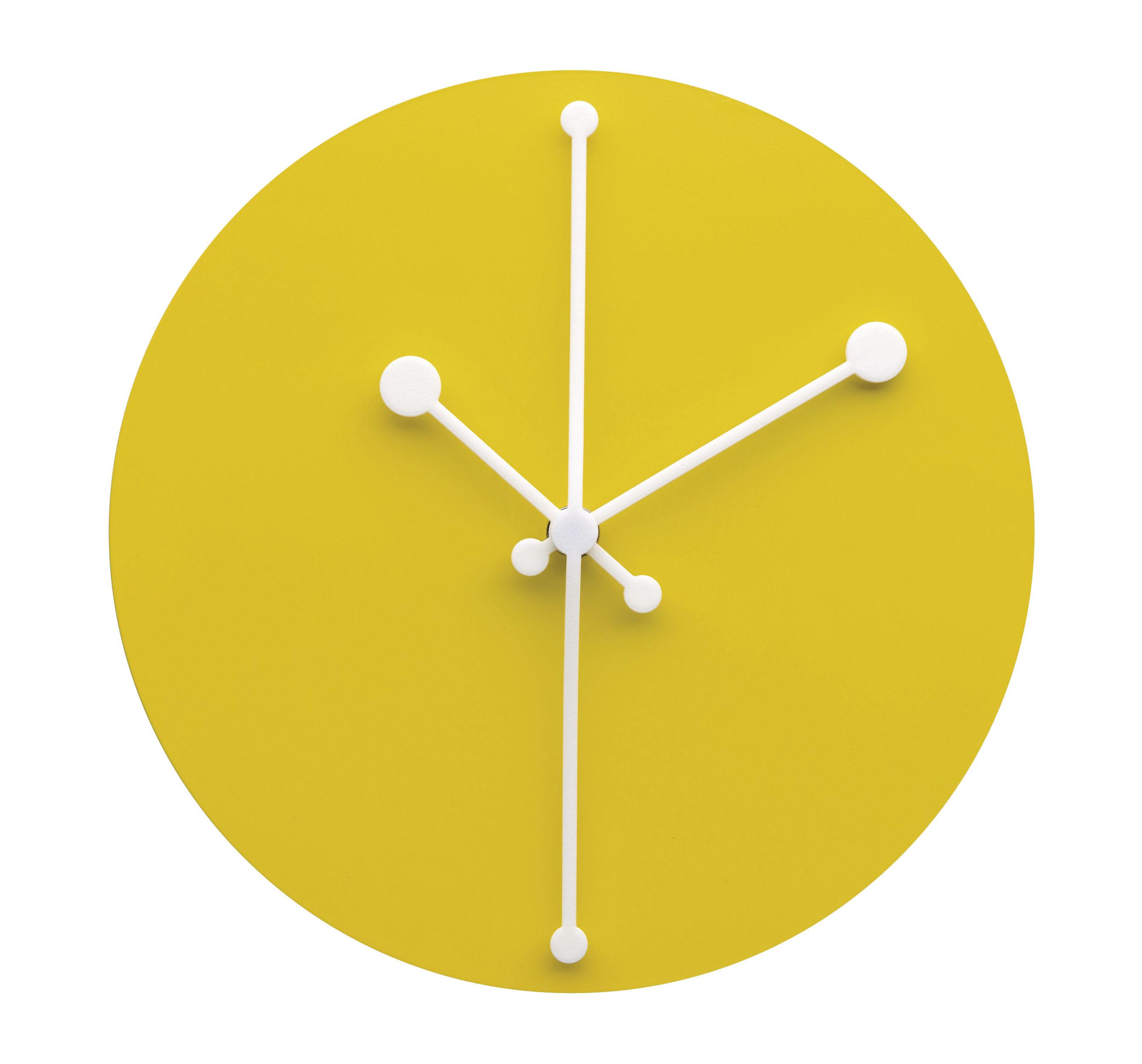 Orologio murale Dotty Clock Alessi - Giallo - Ø 20 | Made In Design