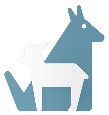 Mobilier - Portemanteaux, patères & portants - Patère Le Loup et l'Agneau - ENOstudio - Loup & agneau / Bleu - Acier peint