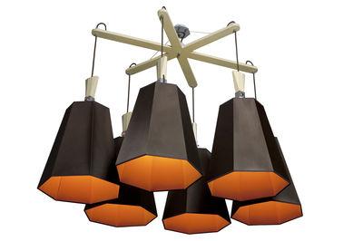 Leuchten - Pendelleuchten - LuXiole Pendelleuchte L 145 cm x B 106 cm - Designheure - Lampenschirm braun / Innenseite orange - Baumwolle, Buchenfurnier