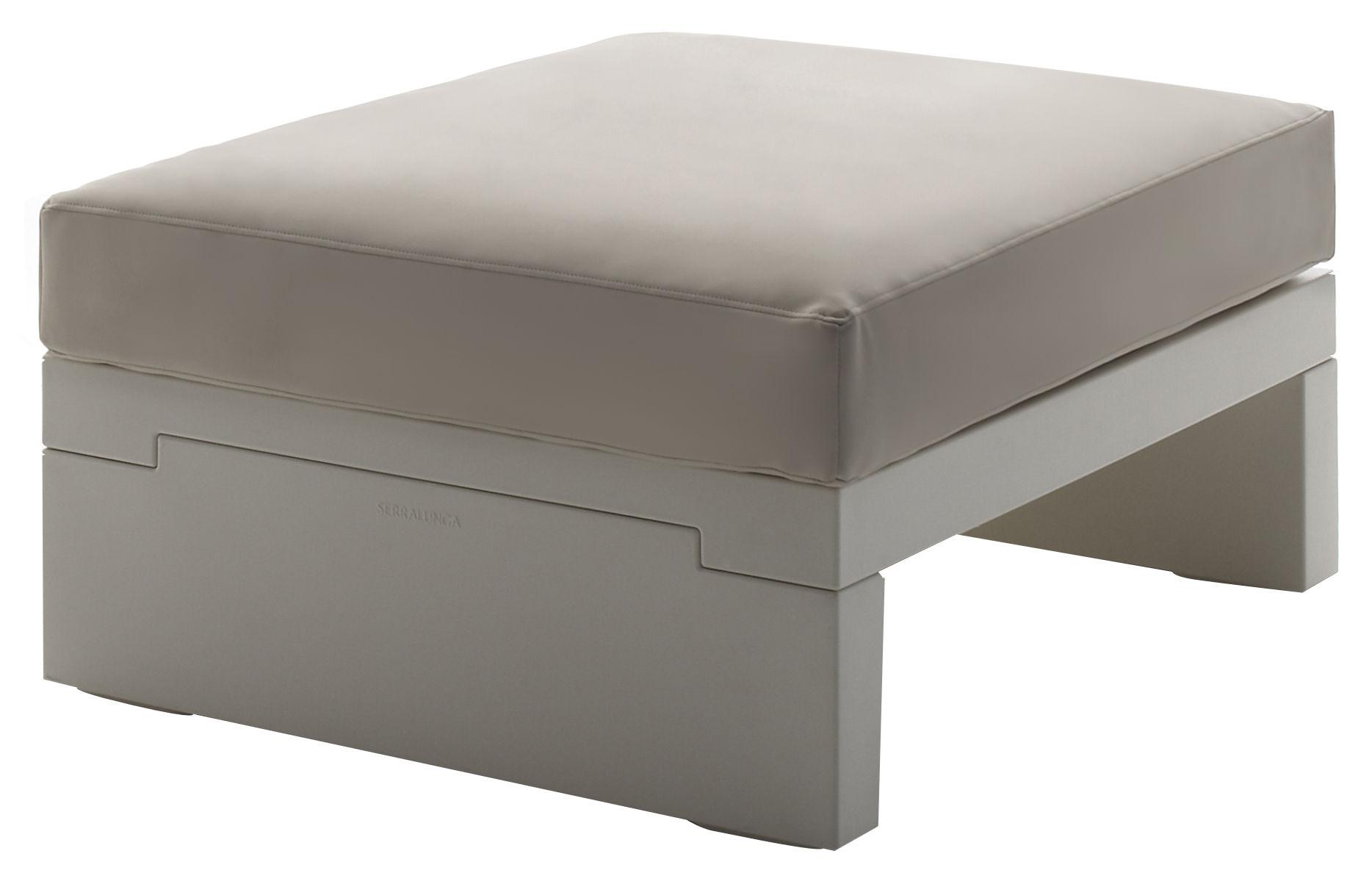 Mobilier - Poufs - Pouf Bellini Hour - Serralunga - Structure blanche / Coussin crème - Polyéthylène, Tissu