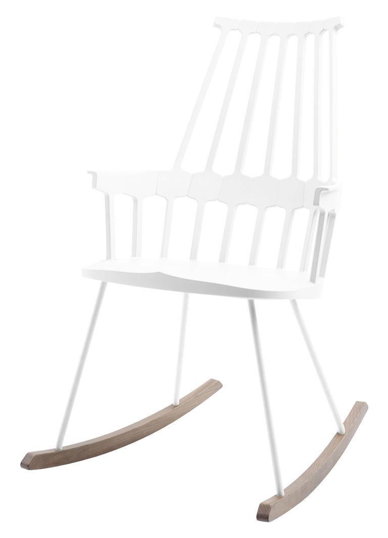 Arredamento - Poltrone design  - Rocking chair Comback - sedia a dondolo di Kartell - Bianco/ legno - Frassino tinto, Technopolymère thermoplastique