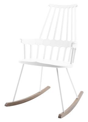Rocking chair Comback / Polycarbonate & pieds bois - Kartell blanc/bois naturel en matière plastique/bois