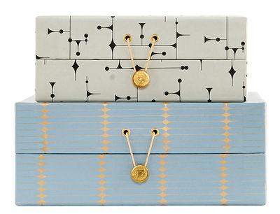 Interni - Scatole déco - Scatola The Artwork Large - / Set di 2 di House Doctor - Verde e blu - Carta, Cartone, Metallo