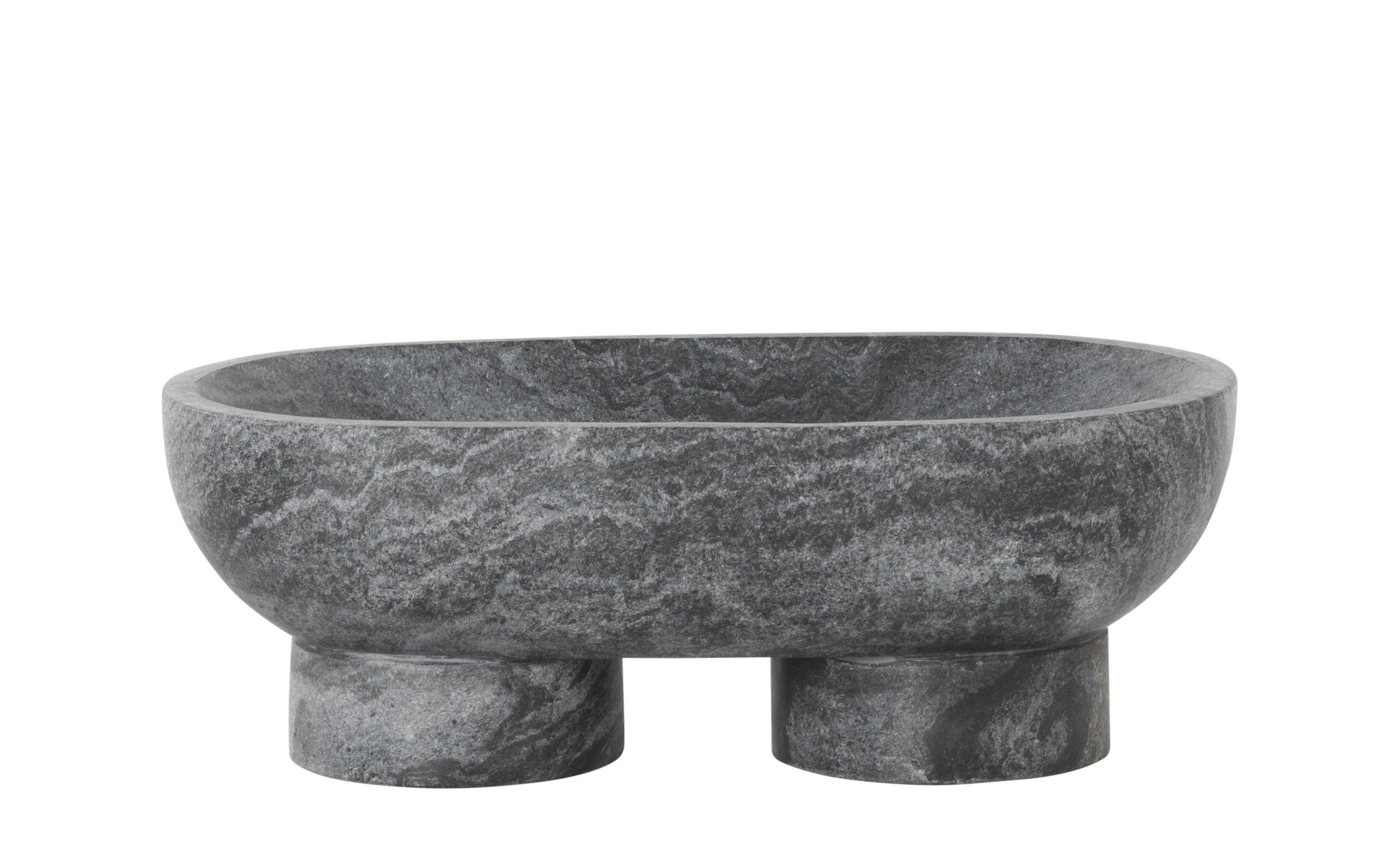 Dekoration - Tischdekoration - Alza Schale / L 25 cm - Marmor - Ferm Living - Schwarz - Marmor