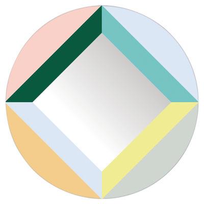 Dekoration - Spiegel - Round Square Selbstklebende Spiegel / selbstklebend - Ø 48 cm - Domestic - Round Square / mehrfarbig - Kunststoff