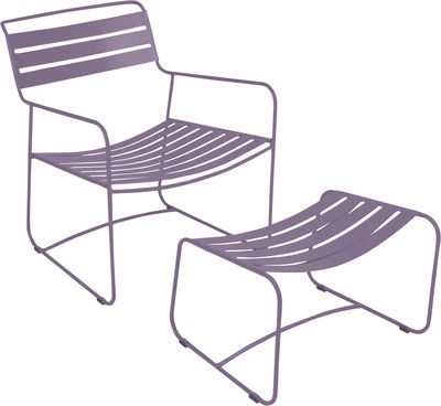 Set fauteuil & repose-pieds Surprising Lounger - Fermob prune en métal