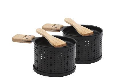 Cuisine - Ustensiles de cuisines - Set Lumi / Pour raclette à la bougie - 2 personnes - Cookut - Noir & bois - Bois, Métal