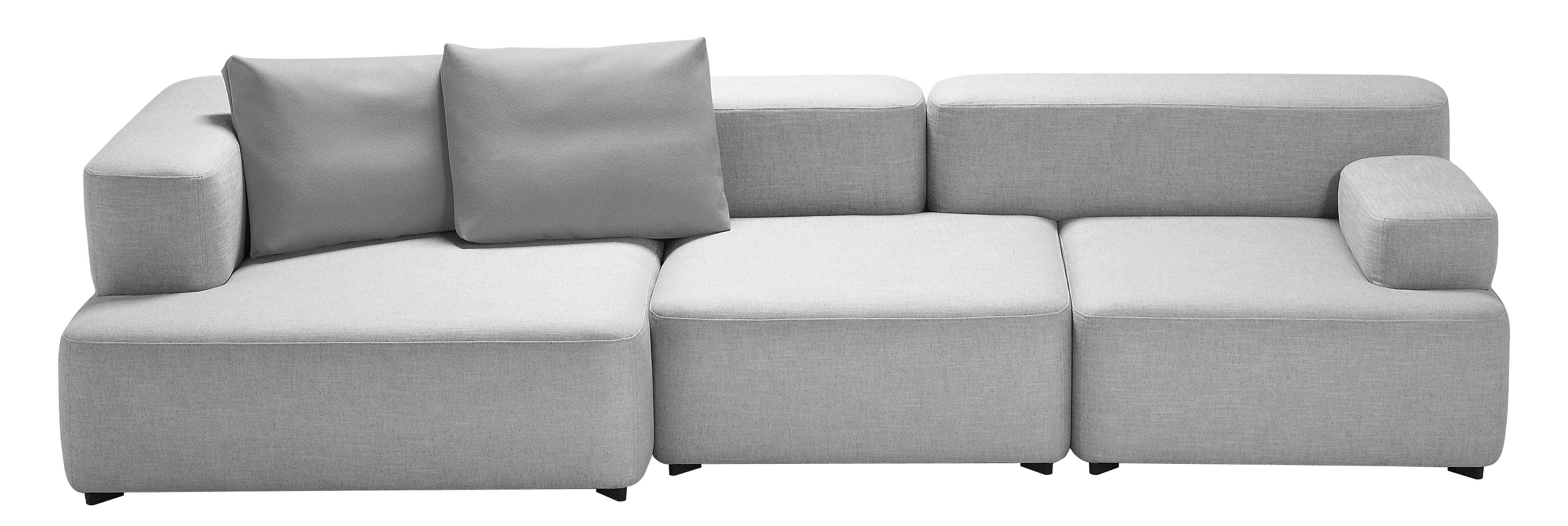 Möbel - Sofas - Alphabet Sofa modularer 3-Sitzer - L 300 x T 120 cm - Fritz Hansen - Hellgrau - Kvadrat-Gewebe, Schaumstoff