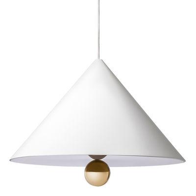 Illuminazione - Lampadari - Sospensione Cherry / Large - Ø 50 cm - Petite Friture - Bianco / Sfera dorata - Alluminio, Plastica, Plexiglas, Tessuto