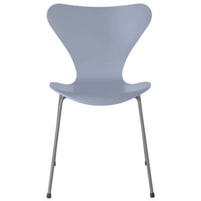 Furniture - Chairs - Série 7 Stacking chair - / Tinted ash by Fritz Hansen - Lavender Blue / Chrome legs - Chromed steel, Plywood: tinted ash