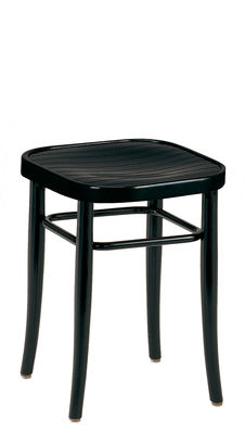 Furniture - Stools - Vienna 144 Stool - / H 45 cm - 1908 reissue by Wiener GTV Design - Black seat / Black structure - Beechwood plywood, Curved solid beechwood