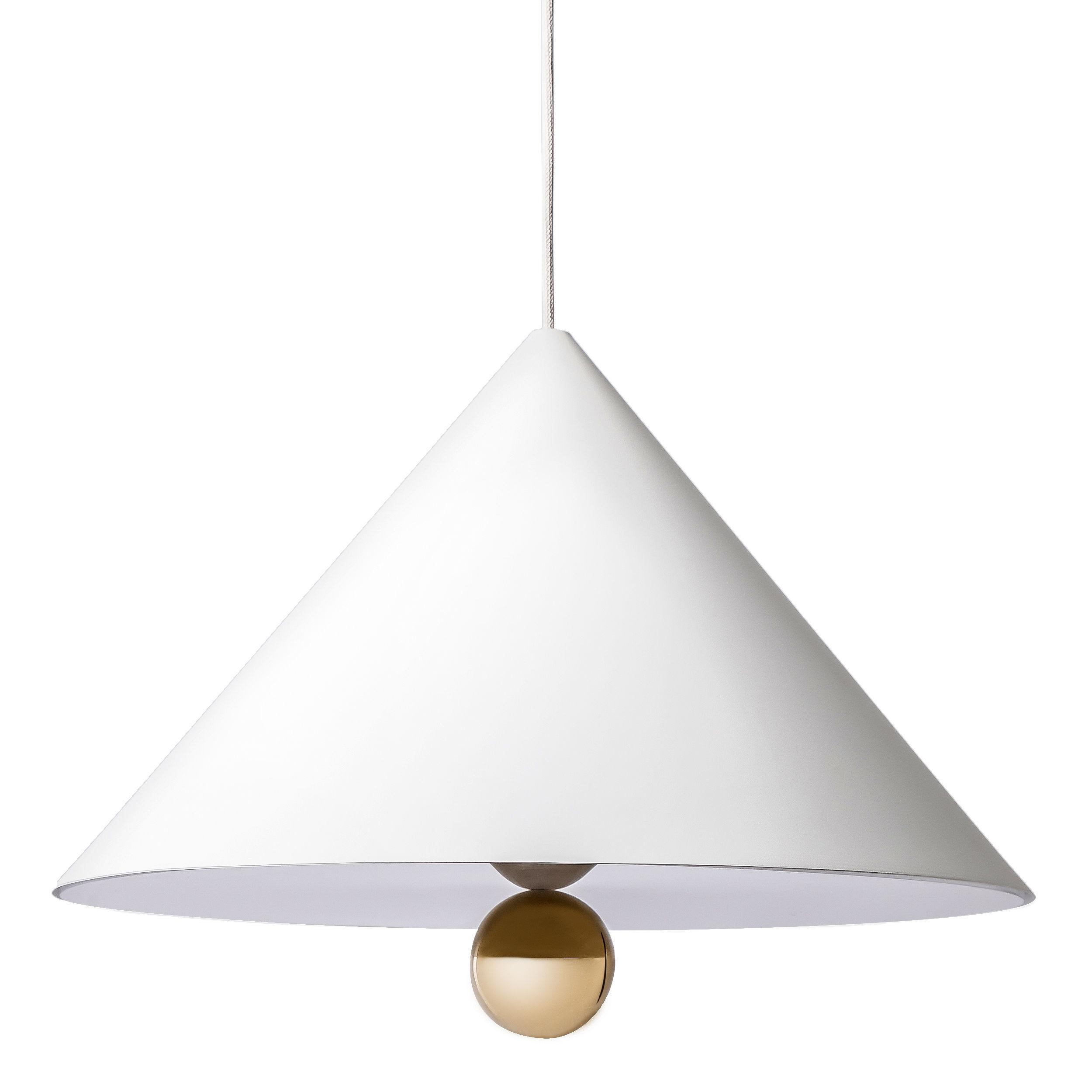 Luminaire - Suspensions - Suspension Cherry / Large - Ø 50 cm - Petite Friture - Blanc / Sphère dorée - Aluminium, Plastique, Plexiglas, Tissu