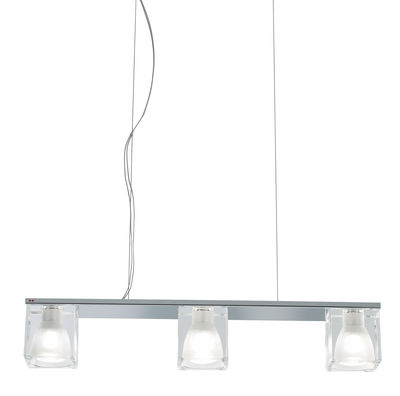 Luminaire - Suspensions - Suspension Cubetto - Crystal Glass 3 éléments - Fabbian - Transparent - Métal chromé, Verre
