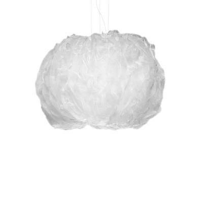Luminaire - Suspensions - Suspension Nuée Medium / LED - Tissu / 70 x 50 cm - Foscarini - Blanc - Tissu technique