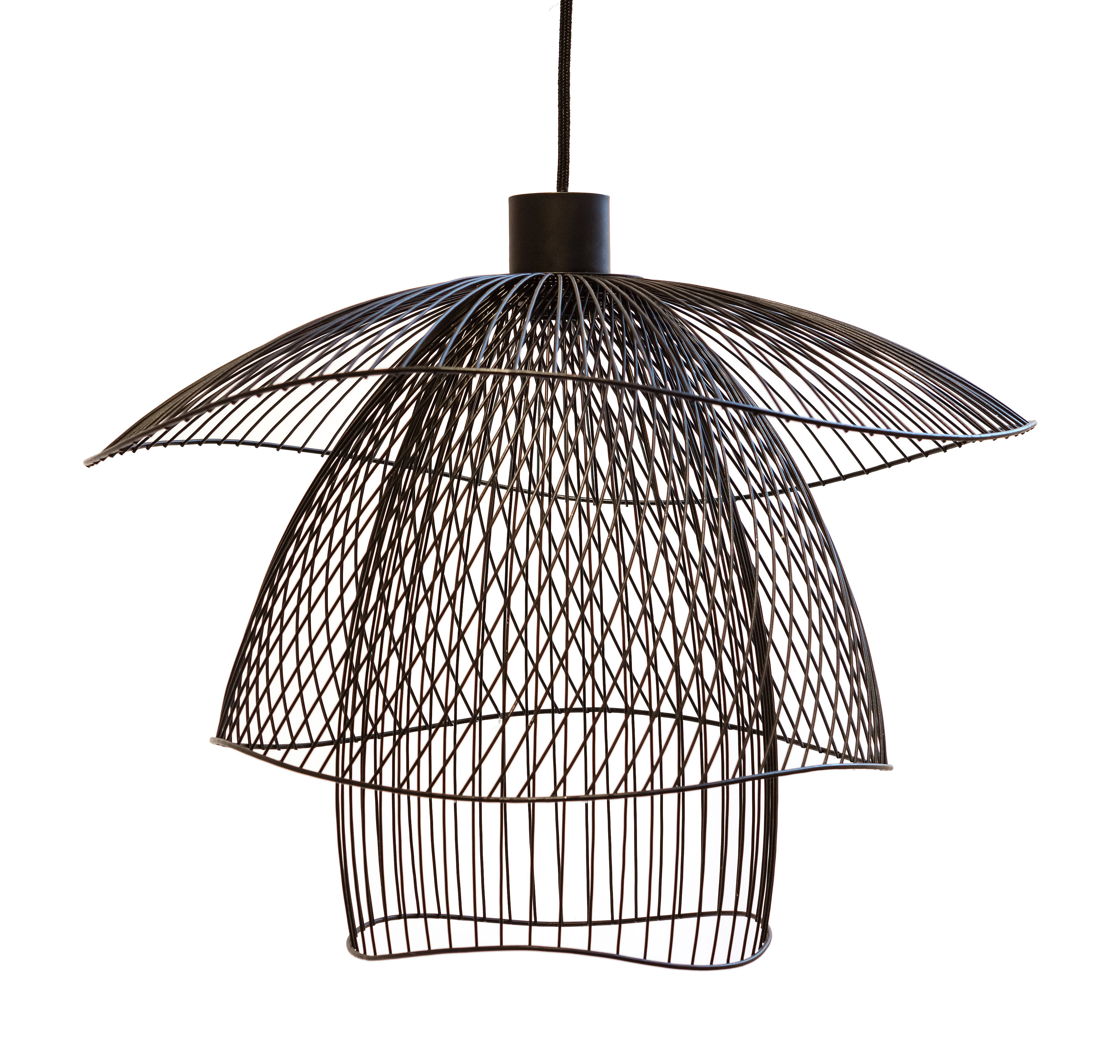 Luminaire - Suspensions - Suspension Papillon Small / Ø 56 cm - Forestier - Noir - Acier thermolaqué