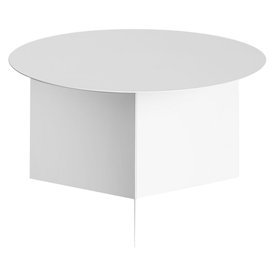 Mobilier - Tables basses - Table basse Slit Round XL / Ø 65 cm - Hay - Blanc - Acier laqué époxy
