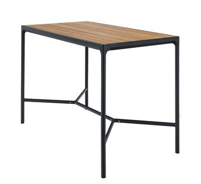 Mobilier - Mange-debout et bars - Table haute Four / L 160 x H 111 cm - Houe - Bambou / Piètement noir - Aluminium, Bambou
