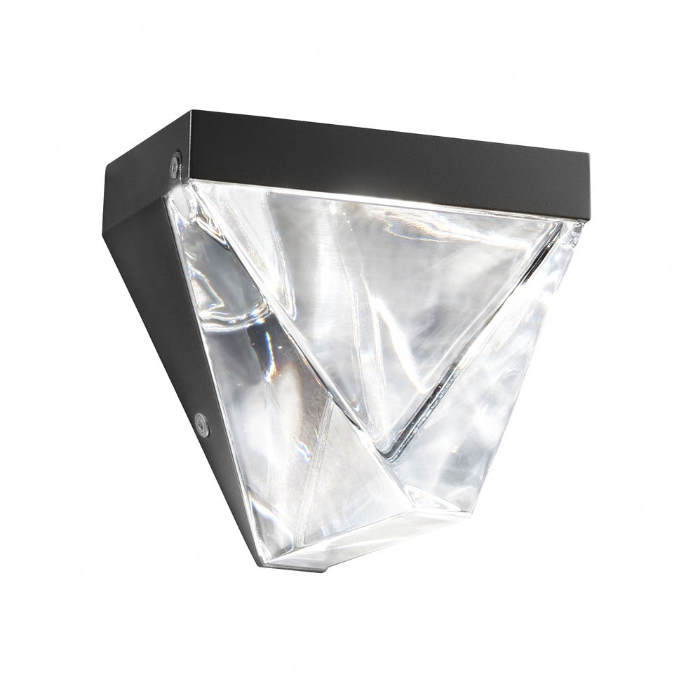 Lighting - Wall Lights - Tripla LED Wall light - Crystal by Fabbian - Anthracite - Cristal, Painted aluminium