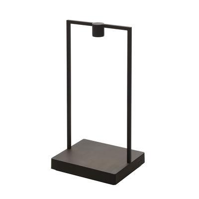 Lighting - Table Lamps - Curiosity Small Wireless lamp - / L 18 x H 35 cm by Artemide - Black / Dark wooden base - Aluminium