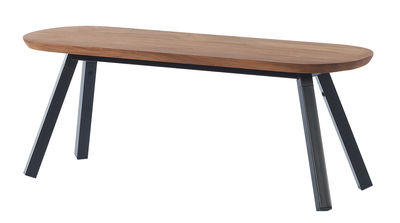 Furniture - Benches - Y&M Bench - Wood & metal  / L 120 cm by RS BARCELONA - Wood / Black legs - Iroko wood, Steel