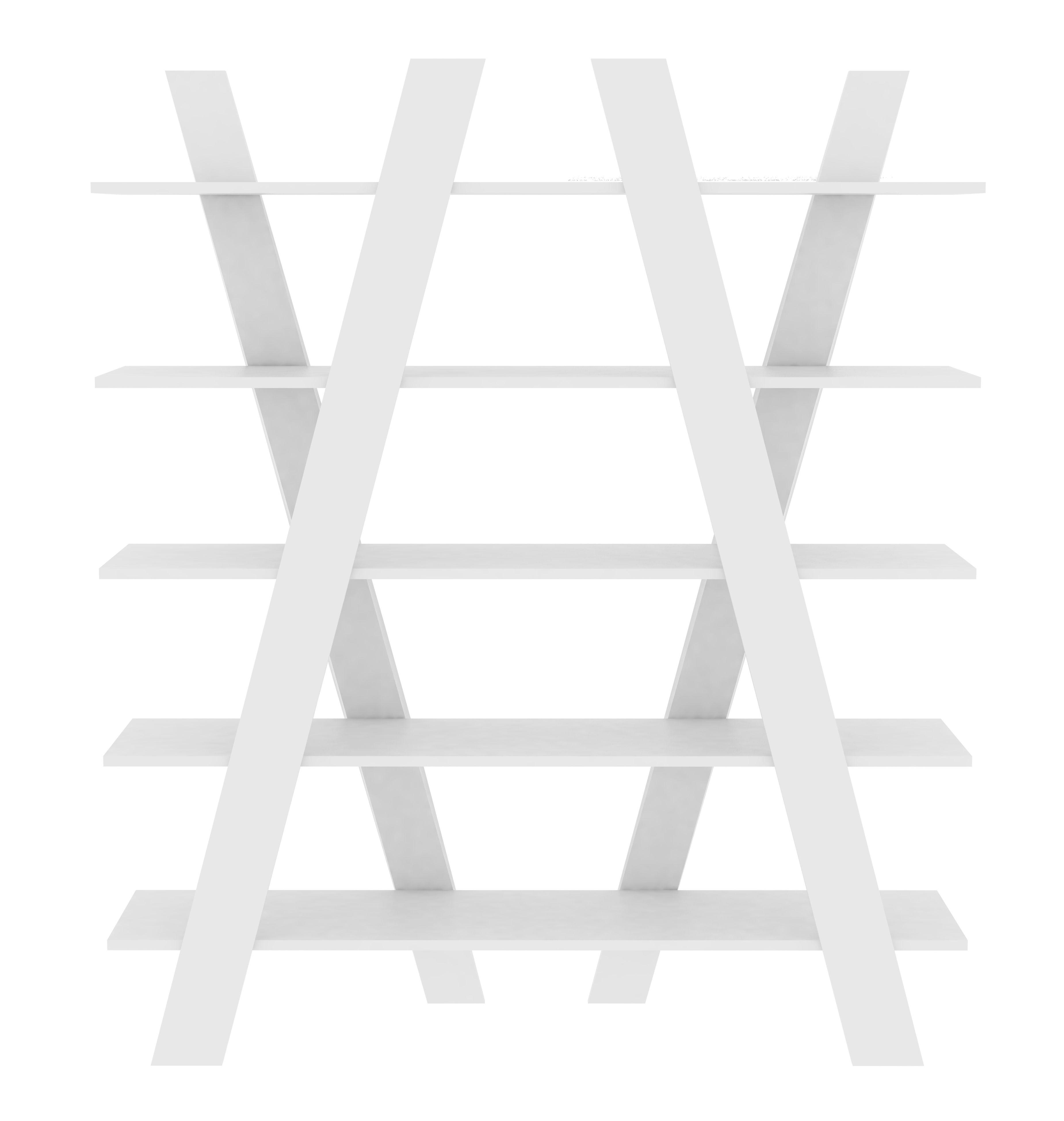 Mobilier - Etagères & bibliothèques - Bibliothèque Cross / L 156 x H 160 cm - POP UP HOME - Blanc mat - Aggloméré peint