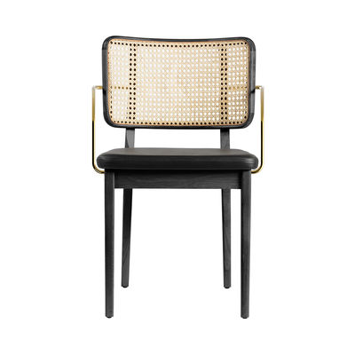 Furniture - Chairs - Cannage Bridge armchair - / Leather - Brass armrests by RED Edition - Black leather / Black - Brass, Foam, Leather, Rattan, Tinted oak wood