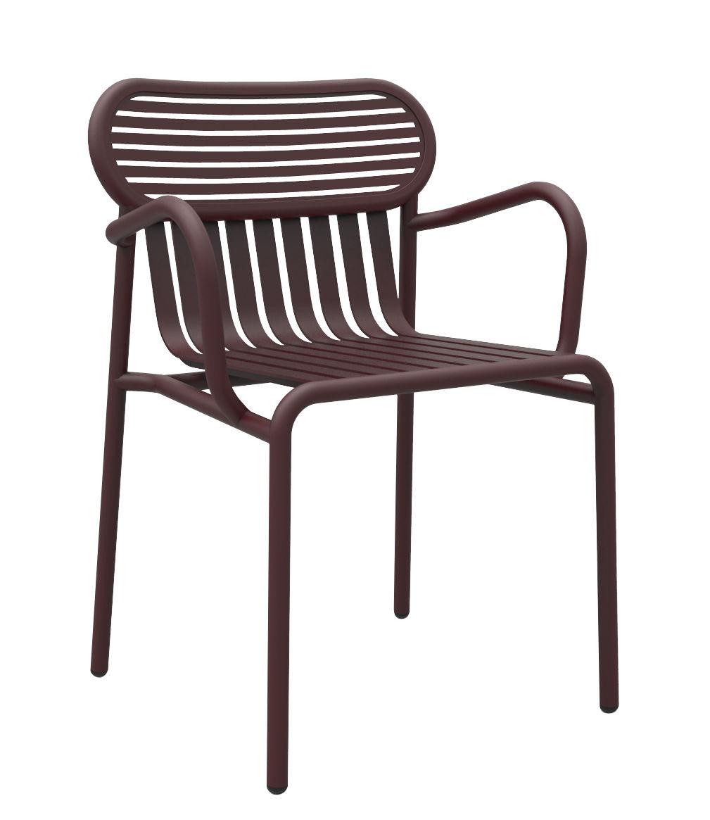 Furniture - Chairs - Week-end Bridge armchair - Aluminium by Petite Friture - Burgundy - Powder coated epoxy aluminium