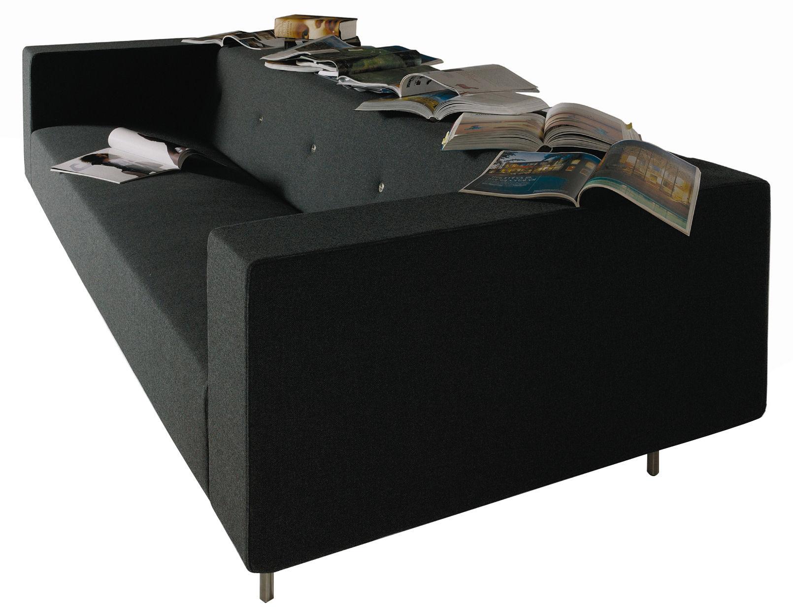 Mobilier - Canapés - Canapé droit Bottoni Shelf / 3 places - L 235 cm - Moooi - Noir anthracite - Laine