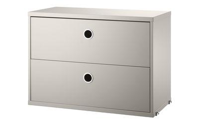Arredamento - Scaffali e librerie - Cassettiera String® System - / 2 cassetti - L 58 x P 30 cm di String Furniture - Beige - MDF laccato