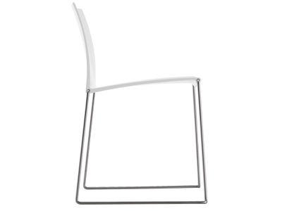 Mobilier - Chaises, fauteuils de salle à manger - Chaise empilable M1 / Assise polypropylène - MDF Italia - Blanc / Piètement inox - Acier inoxydable