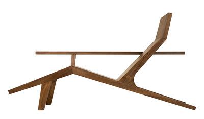 Chaise longue Liberty lounger / Noyer massif - Avec peau de mouton - Moooi marron,noyer en bois