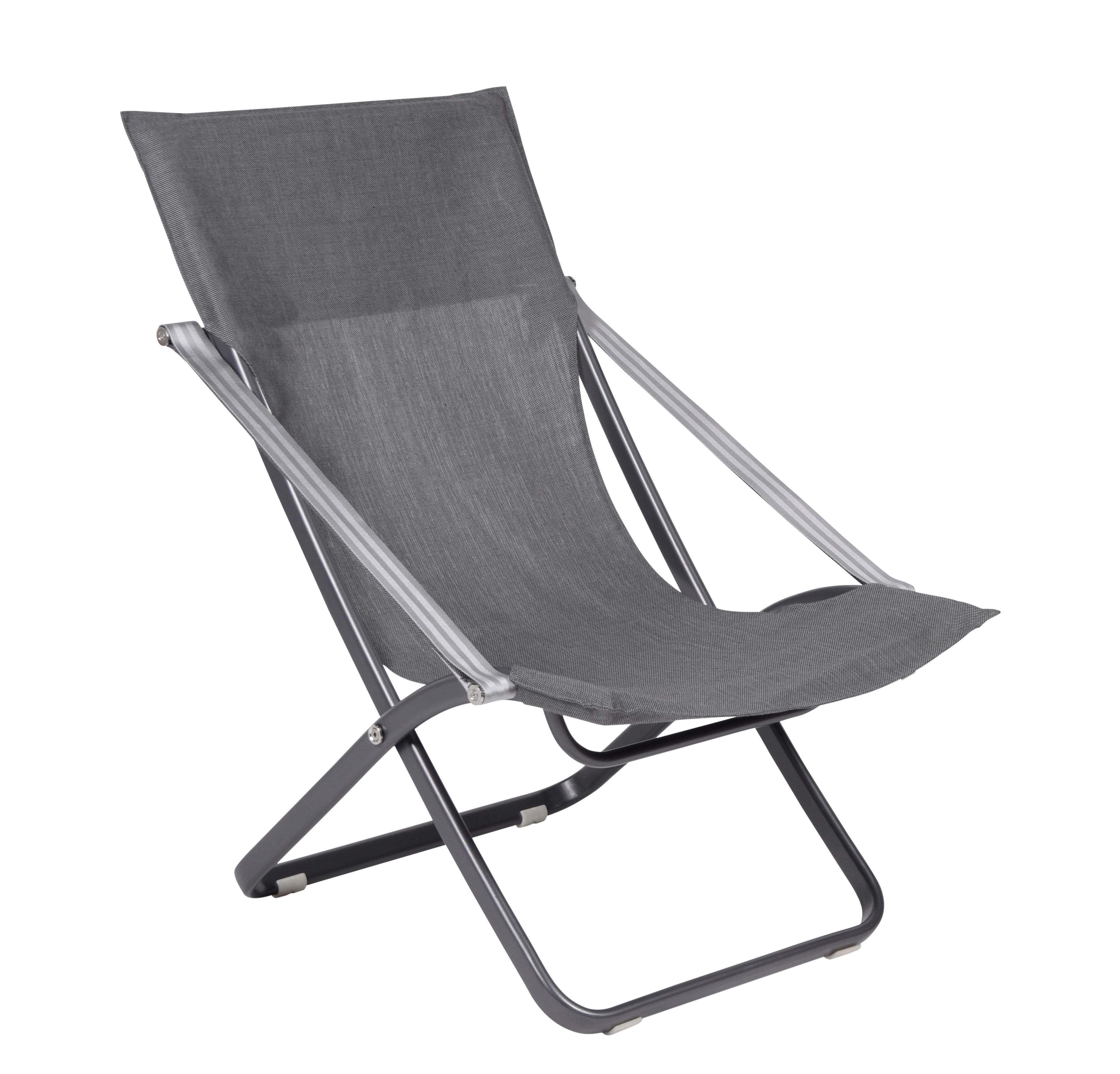 Outdoor - Chaises longues et hamacs - Chaise longue Viatti / Pliable & réglable - Vlaemynck - Anthracite / Titane - Aluminium laqué, Toile Batyline®