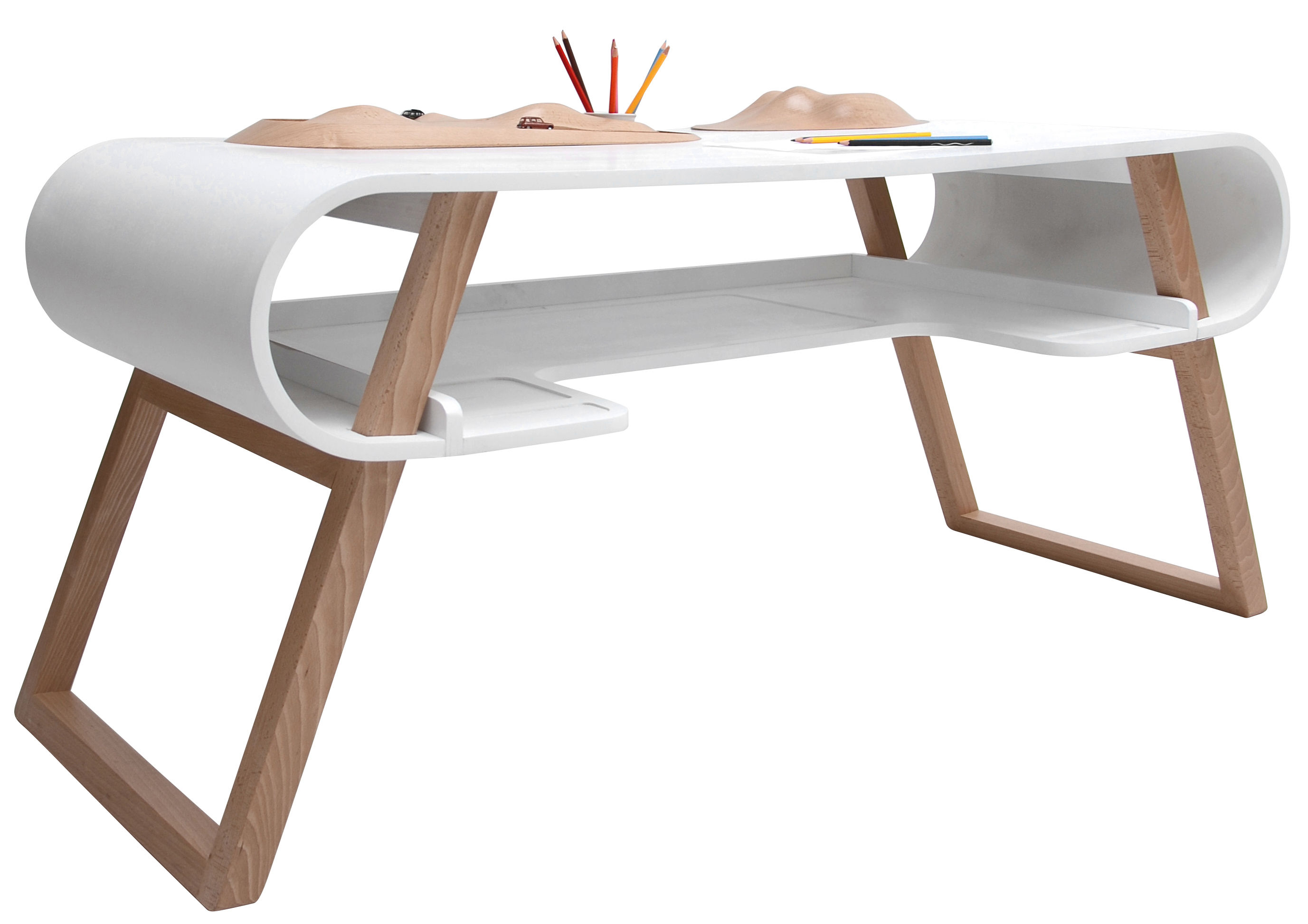 Furniture - Kids Furniture - Rubens Children's desk by Compagnie - White - Curved MDF, Natural beechwood