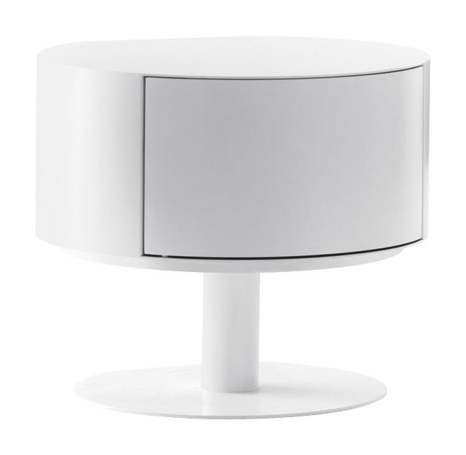 Möbel - Couchtische - Bon-Bon Couchtisch Staumöbel - Opinion Ciatti - Weiß lackiert / öffnet nach rechts - lackierter Stahl