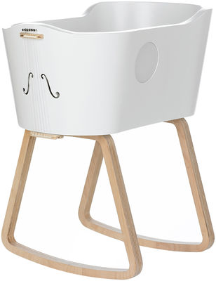 Furniture - Kids Furniture - Womby Cradle by Valsecchi 1918 - White / Light wood feet - Birch plywood, Lacquered wood, Polypropylene