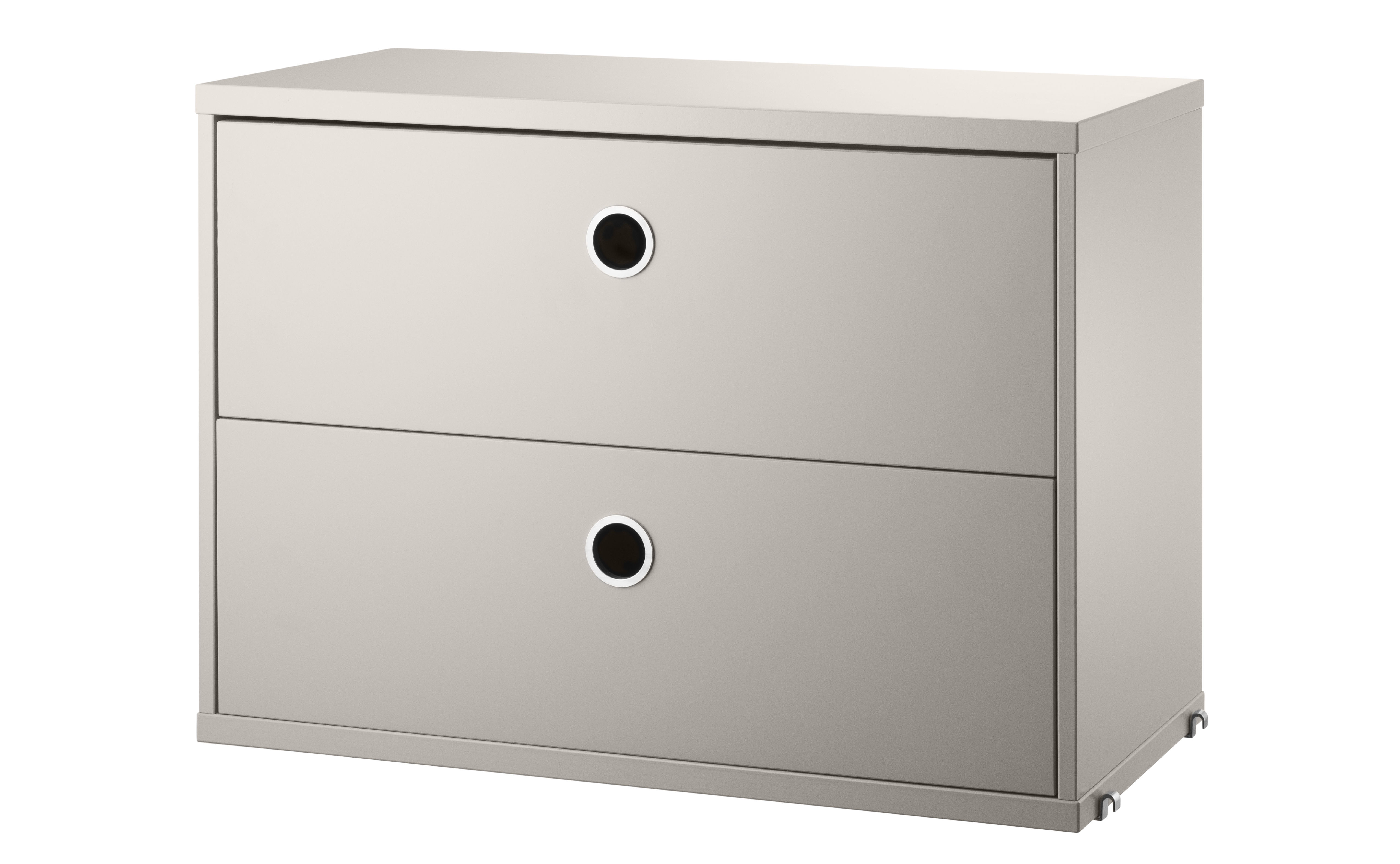 Furniture - Bookcases & Bookshelves - String System Crate - / 2 drawers - L 58 x D 30 cm by String Furniture - Beige - Lacquered MDF