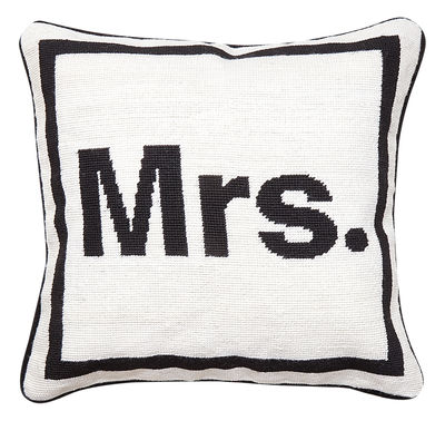 Decoration - Cushions & Poufs - Mrs Cushion - 41 x 41 cm by Jonathan Adler - Mrs / Black and White - Wool