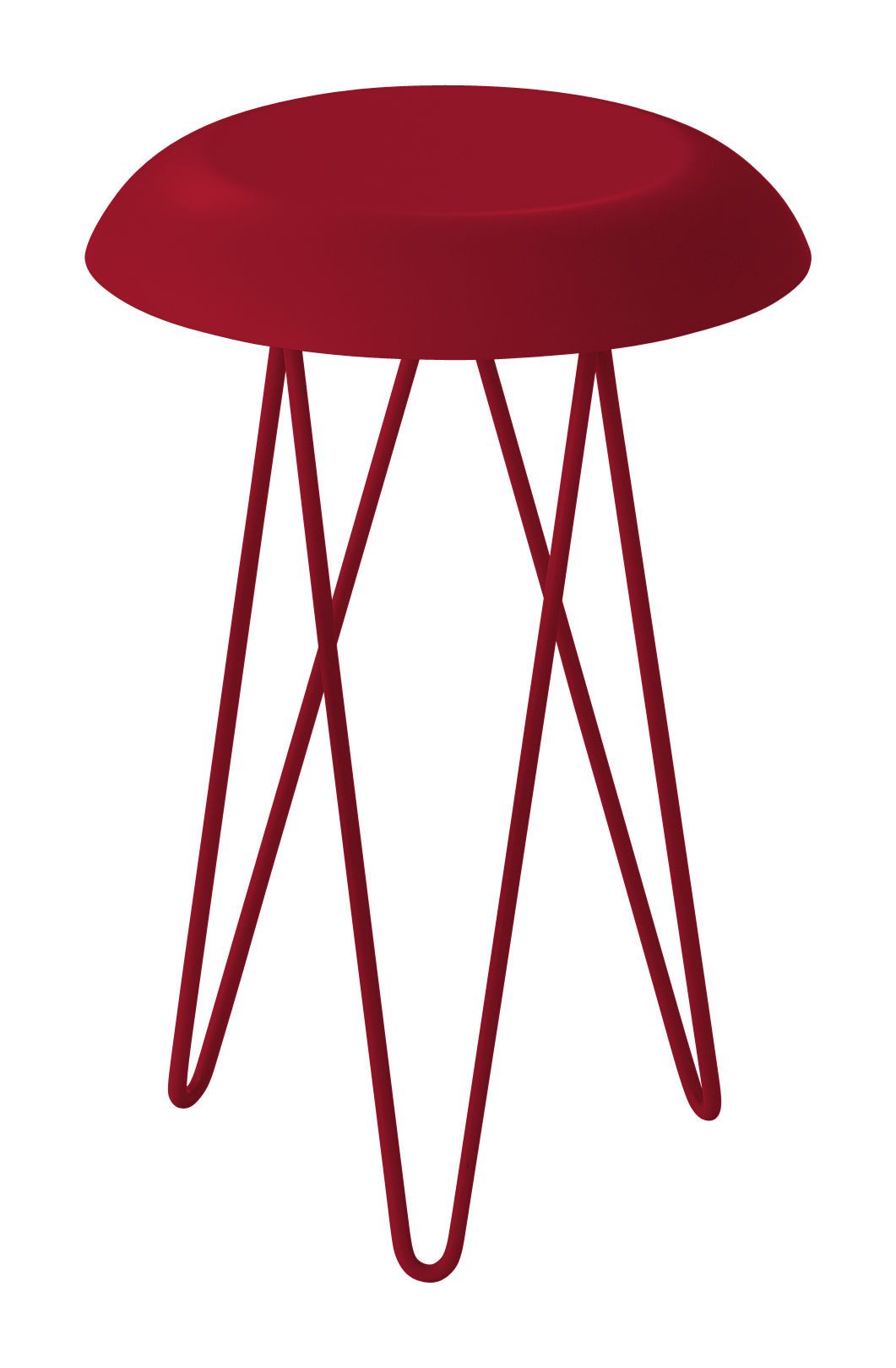 Furniture - Coffee Tables - Meduse End table - Ø 30 x H 44 cm by Casamania - Burgundy - Varnished metal, Varnished stainless steel