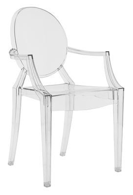 Mobilier - Chaises, fauteuils de salle à manger - Fauteuil empilable Louis Ghost / Polycarbonate 2.0 - Kartell - Cristal - Polycarbonate 2.8