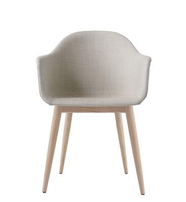 Chaise Harbour / Tissu - Pieds bois - Menu blanc/beige/bois naturel en tissu/bois