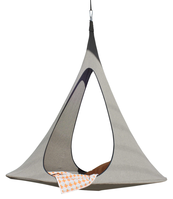Outdoor - Chaises longues et hamacs - Fauteuil suspendu Songo / Tente - Ø max 194 cm - 2 personnes - Cacoon - Terre - Aluminium anodisé, Polyester